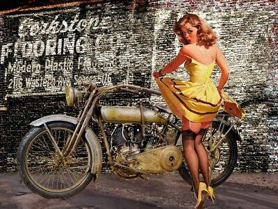 Vintage Harley Davidson Motorcycle with Pin Up in Yellow Dress Rustic Metal Sign