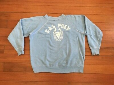 Vtg 50s 60s Pastel Champion Running Man Cal Poly Tech College Sweatshirt