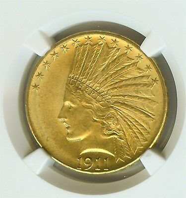 1911 Indian Head $10 Gold Eagle  Ngc Ms-64  Price Guide Value $1,750!