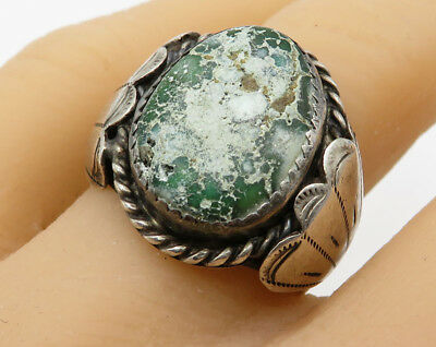 925 Sterling Silver - Vintage Antique Navajo Turquoise Solitaire Ring - R2454