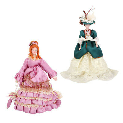 1/12 Dollhouse Miniature Porcelain Doll Victorian Lady in Gown w/ Stand Set