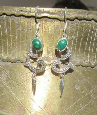 Earring in Art Nouveau with Malachite Stone of the Aphrodite Sterling Silver 925