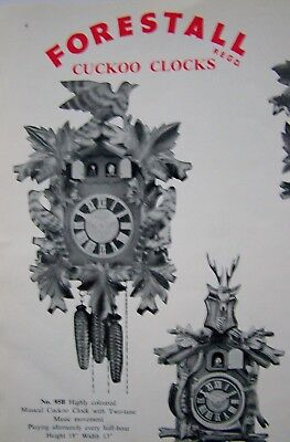 Cuckoo CLOCKS 1960 Forestall catalogue Black Forest GERMAN musical Barometers