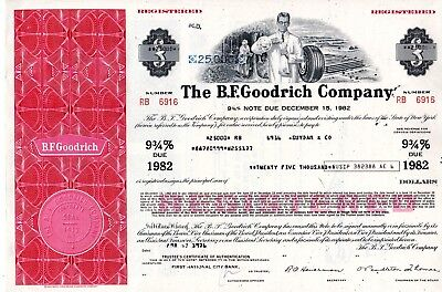 The B.F. Goodrich Company of New York 1976 Registered $25,000 Bond Certificate