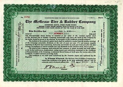 The McGraw Tire and Rubber Company of Ohio 1921 Stock Certificate - green