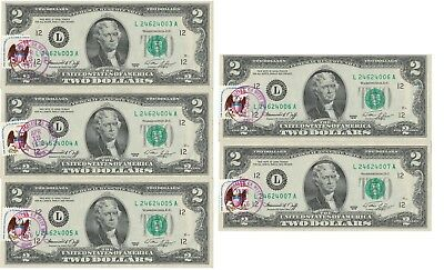 1976 TWO DOLLAR BILL First Day of Issue With Stamp from April 13,1976
