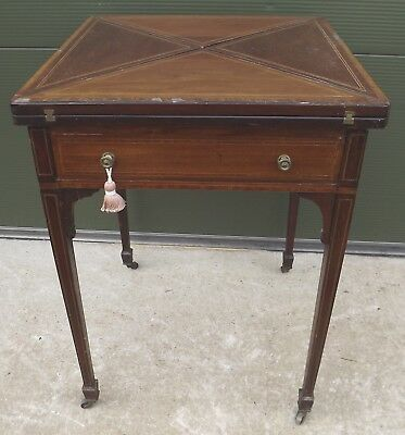 Antique Victorian Inlaid Mahogany Folding Envelope Games Table, Needs Some TLC