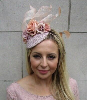 Blush Nude Light Dusky Pink Flower Feather Hat Fascinator Races Wedding 5887