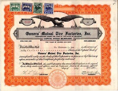 The Owners Mutual Tire Factories Incorporated of DE 1930 Stock Certificate
