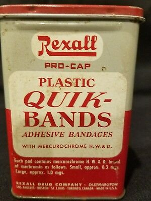 VINTAGE Rexall Pro-Cap  Quick Bands Metal Tin Bandages