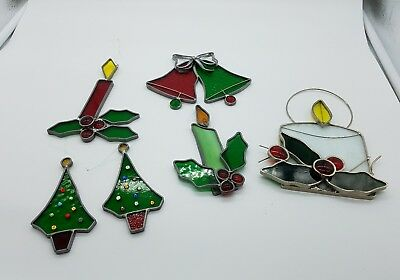 Vintage Christmas Holidays Stained glass window hanging Decorations ~ LOT of 6