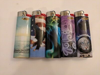 5 Lighters Special Edition Full size Bic Lighters New Assorted