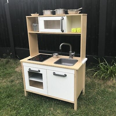 kids ikea duktig wooden play kitchen with microwave unit great