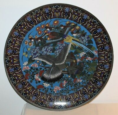 Antique JAPANESE 19th C. Cloisonne Charger Decorated with Birds & Flowers. 46 cm