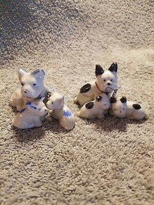 Vintage Boston Terrier Dogs With Puppies Lot On Chain