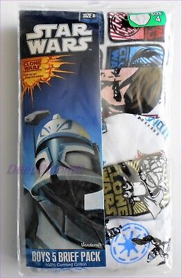 Pack 5 Brief Underwear Set Boys Kids Sz 4 6 8 - Star Wars Clone Wars New