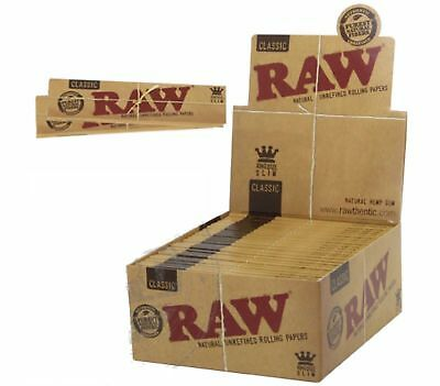 RAW Classic King Size Slim Rolling Paper - 2 PACKS - Natural Cigarette Papers