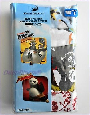 Pack 5 Brief Underwear Set Boys Kids Sz 4 6 8 - The Penguins Kung Fu Panda New