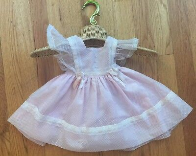 VTG 50s CASTRO PINK SHEER SWISS DOT PINAFORE RUFFLE LACE FULL SKIRT DRESS 12 MO