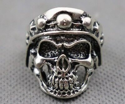 Chinese Collectable Handwork Old Miao Silver Carve Skull Exorcism Fashion Ring