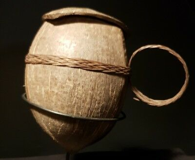 GENUINE mentawai old l coconut tobacco container. Indonesian tribal art