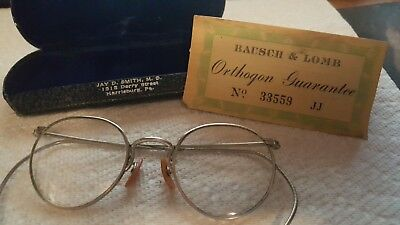 Vintage Wire Rim Eyeglasses Bausch & Lomb With Guarantee And Case