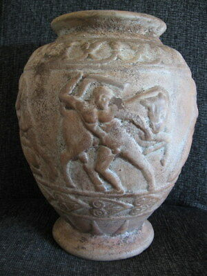 ANCIENT HELLENISTIC OR ROMAN TERRACOTA VASE WITH MYTHOLOGY SCENES 3-1 ct. B.C.