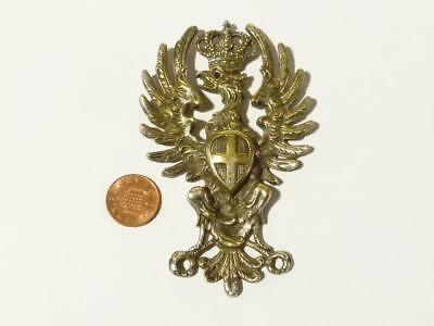 Antique Silver Plated Austria / Vienna Coat of Arms Eagle Crown & Ruby Eye BADGE
