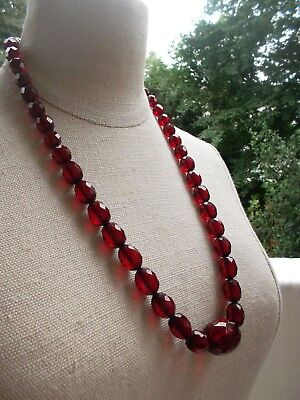Bernstein Kette Amber Art Deco Necklace Facetted Cherry Bakelite ca.48 Gramm