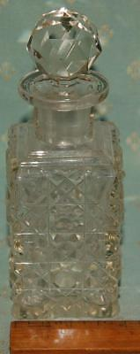 "Antique Cut Glass Bottle with Stopper  Height 5.75"" Edwardian c1900-20"