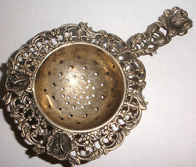 Vintage Germany 835 silver tea strainer with rose and vine decoration
