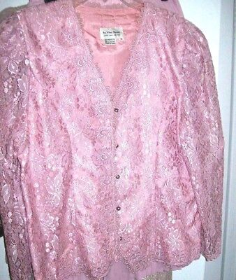 Womens Size 14 PINK LACE JACKET Pleated SKIRT by IN THE MOOD