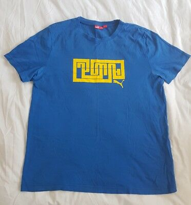 Mens Shirt - Size L - From Puma - T-Shirt - Blue & Yellow - Preloved