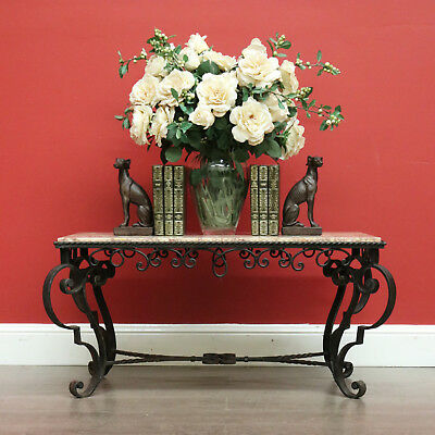 Vintage French Wrought Iron and Marble Top Coffee Table Side or Lamp Table