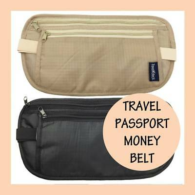 Travel Passport Waist Money Pouch Bag Security Belt Secure Ticket + Card Wallet