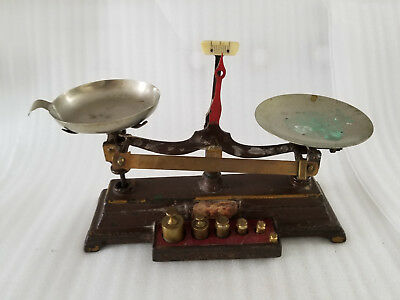 Antique Cast Iron/brass Small Desk Top Postage Balance Scale W/weights