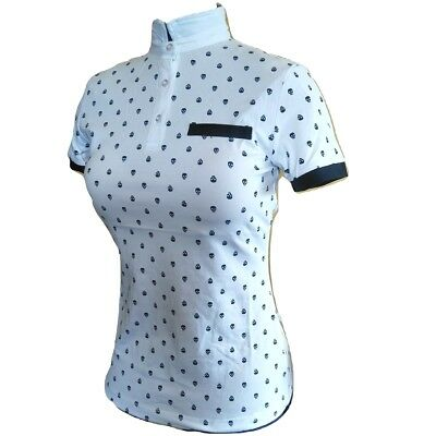 White Equestrian Shirt with Skull Print - Converts from polo to ratcatcher