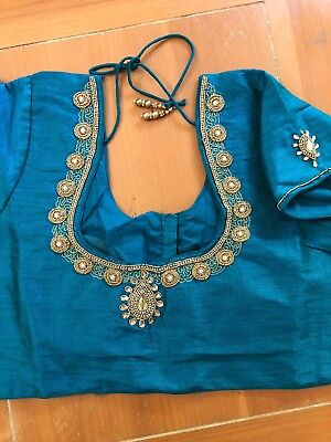 Blue Blouse Only Stitched- Size 36-40 Ready To Wear