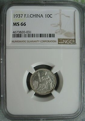 French Indo-China 1937 10 Cents NGC MS-66
