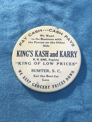 Antique Celluloid Hand Mirror Advertising Sumter S.C. King's Kash And Karry