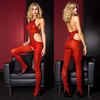 Red Zebra Print Bodystocking w/ Cut Out Sides One Size Regular Lingerie ML1459