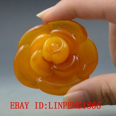 19.2g 100% Natural Amber Beeswax Baltic Hand-carved Rose Flower Pendant L48