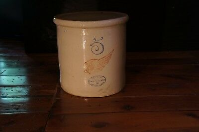 Antique Vintage 5 Gallon Red Wing Crock / stoneware