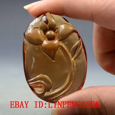 20.8g 100% Natural Baltic Amber Stone Hand-carved Orchid Statue Pendant L39