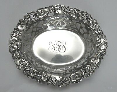 Art Nouveau c1900 Alvin Sterling Silver Pansies/Floral Candy or Nut Dish