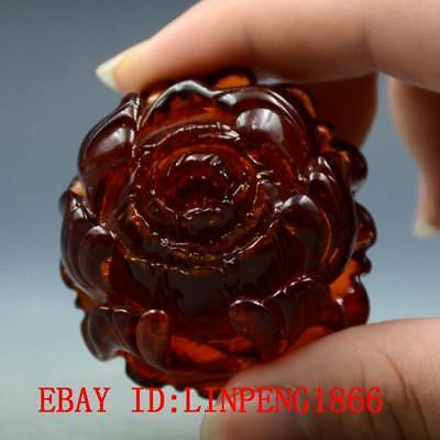 100% Natural Blood Red Burmite Amber Stone Hand-carved Rose Flower Pendant L15
