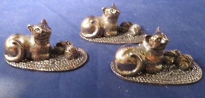 Set of 3 Reed and Barton CAT and MOUSE Silverplate Place Card Holders