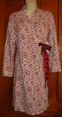 Women's Motherhood Maternity Robe Burgundy Red White Floral Scroll~Tie/Bow~S