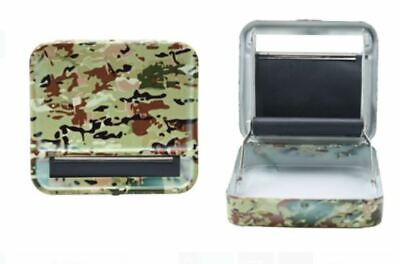 Metal Roller Tobacco Case Army Camo Automatic Rolling Machine 70mm