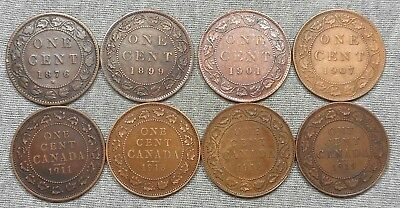 Lot Of 8 Canada Large Cents - 1876 H, 1899, 1901, Etc.
